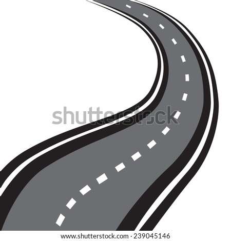 vector Illustration of winding road on a white background - stock vector