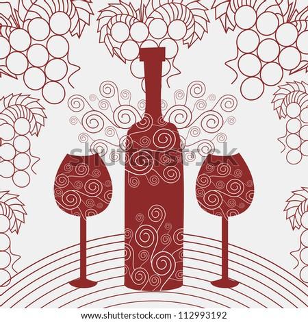 Vector illustration of wine pattern background - stock vector