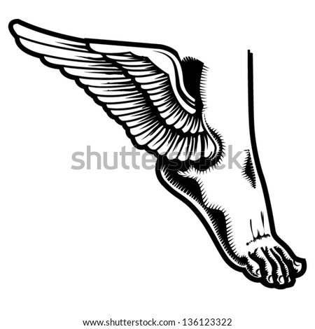 Vector Illustration Winged Foot Stock Vector Royalty Free