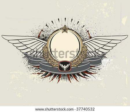Vector illustration of winged heraldic shield or badge with banner, perfect for you to place your text - stock vector