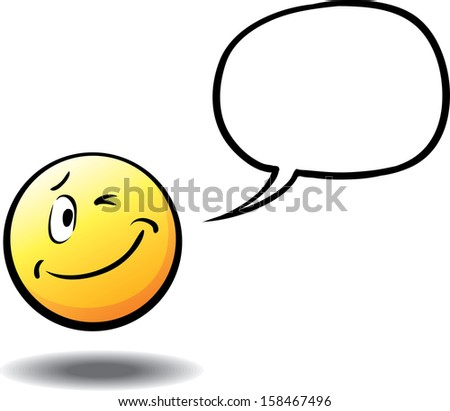 Vector illustration of winking face with speech bubble. Easy-edit layered vector EPS10 file scalable to any size without quality loss. High resolution raster JPG file is included. - stock vector