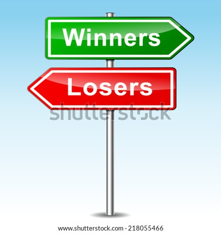 Vector illustration of winners and losers signs on sky background