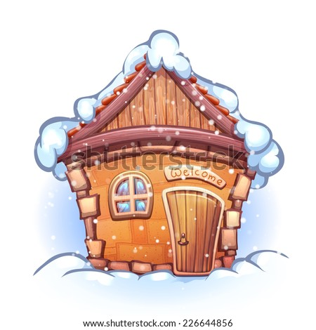 Vector illustration of winter cartoon home with snow - stock vector