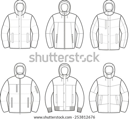 Vector illustration of winter hooded down jackets - stock vector