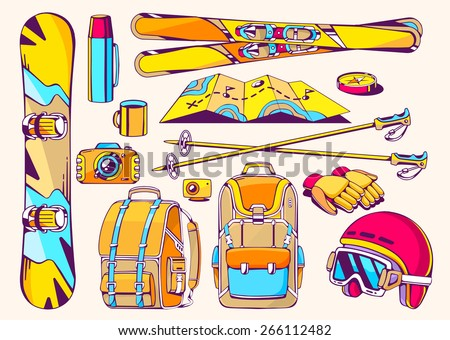 Vector illustration of winter travel accessories on white background. Colorful hand draw line art design for web, site, advertising, banner, poster, board and print. - stock vector
