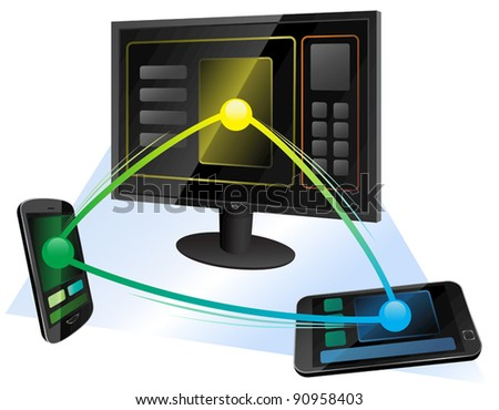Vector illustration of wireless web communication between computer, mobile phone and tablet. Eps8 file grouped, layered and named for easy editing. - stock vector