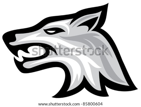 Vector illustration of wolf face  (wolf head) - stock vector