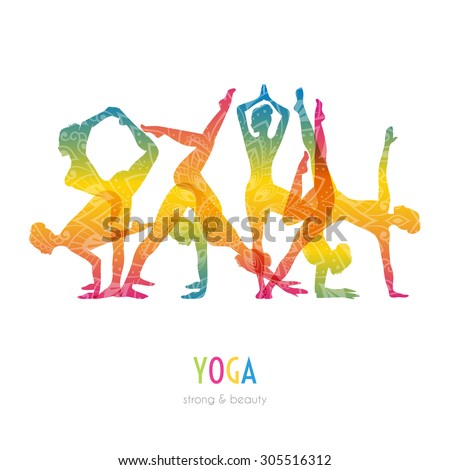Vector illustration of Woman doing yoga asanas - stock vector