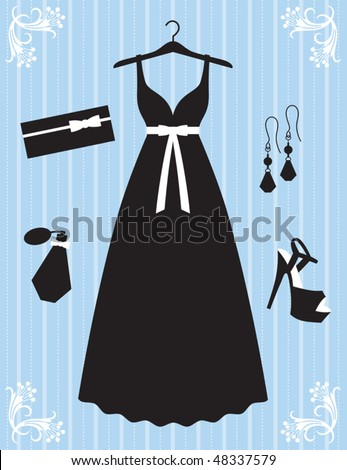 Vector illustration of woman dress and accessories. - stock vector