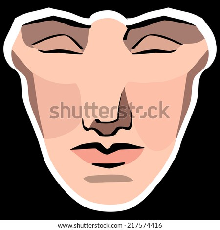 Vector illustration of woman face with geometric shapes - stock vector