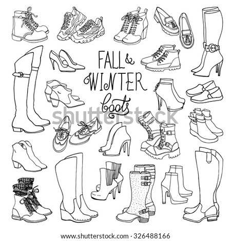 Vector illustration of woman fall and winter shoes, boots set. Hand-drown footwear illustrations. Black and white fashion collection. - stock vector