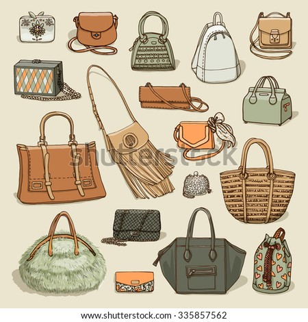 Vector illustration of woman fashion collection of bags. Hand-drown objects sketch isolated on beige background.  - stock vector