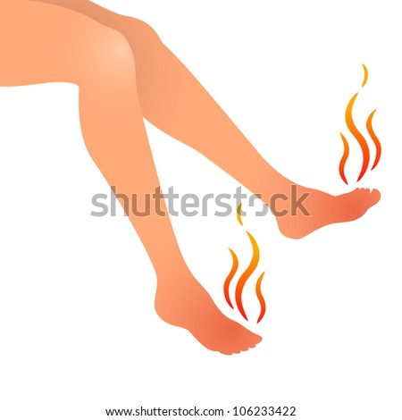 Vector illustration of woman feet hurting and swollen - stock vector