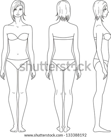 Vector illustration of woman's figure. Front, back, side views - stock vector
