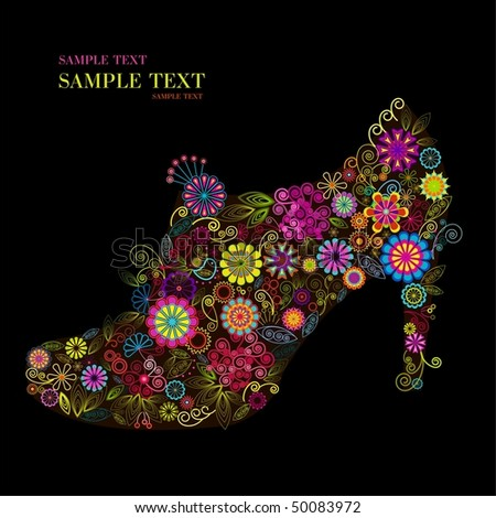 Vector illustration of woman shoe shape made up a lot of multicolored small flowers on the black background - stock vector