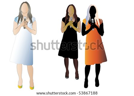 Vector illustration of woman with microphone. There are three color version of the image - stock vector