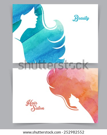 Vector illustration of Woman with watercolor hair - stock vector