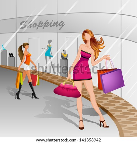 vector illustration of women doing shopping in mall - stock vector