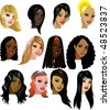 Vector Illustration of 12 Women Faces 3. Great for avatars, makeup, skin tones or hair styles of women. - stock vector