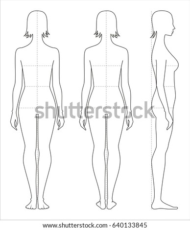 vector illustration of womens body proportions and measurements for clothing design and sewing front