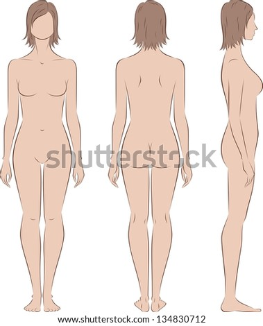 Vector illustration of women's figure. Front, back and side views. Silhouettes - stock vector