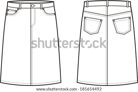 Vector illustration of women's jeans skirt. Front and back views - stock vector