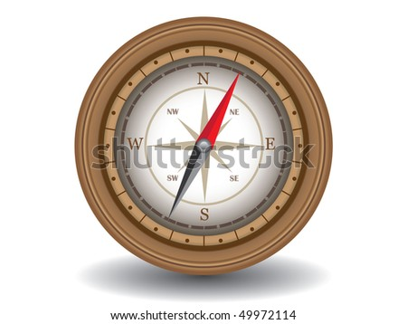 Vector illustration of wooden compass
