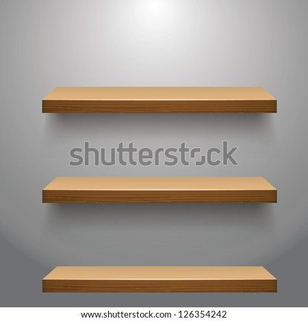 vector illustration of Wooden  empty three shelves  for exhibit - stock vector