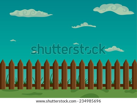 Vector illustration of Wooden fence and green grass with sky - stock vector