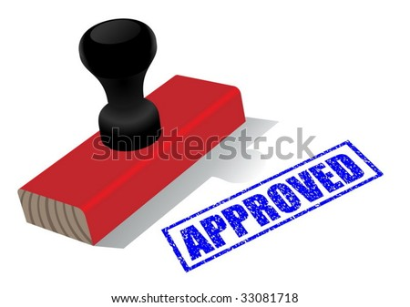"""Vector illustration of wooden rubber stamp with """"approved""""  impress isolated on white background - stock vector"""