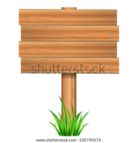 Vector illustration of wooden sign in grass