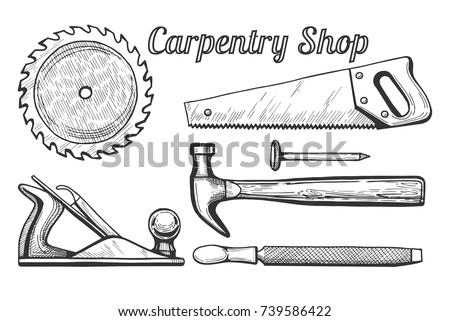 Vector Illustration Of Woodworking Or Carpentry Equipment Tools Icons Instruments Circular Miter Saw