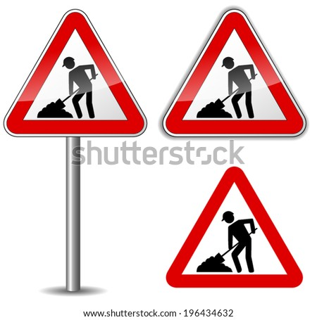Vector illustration of work in progress sign on white background - stock vector