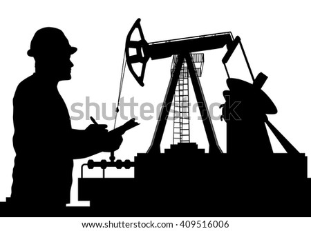 Vector illustration of Worker and Oil Pump silhouettes, Petroleum Industry - stock vector