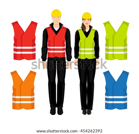 Vector illustration of worker man and woman in protective wear isolated on white background. Different color safety waistcoat