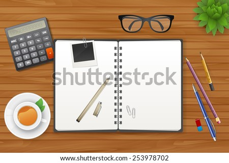 Vector illustration of Workspace with notebook and tea - stock vector