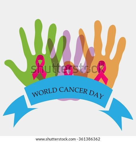 Vector illustration of World Cancer Day background with ribbon.