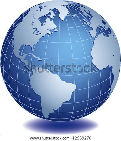 Vector illustration of world globe - stock vector