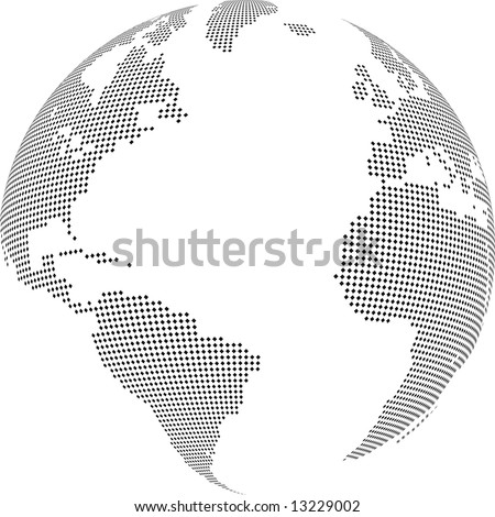Vector illustration of world globe with square dots - stock vector