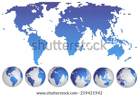 Vector illustration of World map dotted with globes.  - stock vector