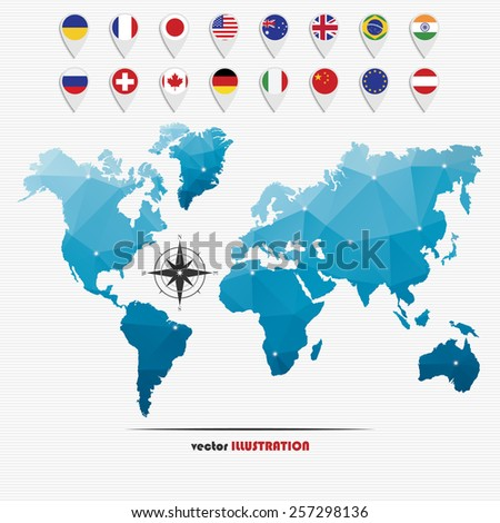 Vector illustration of world map with markers and circle national flags for your design - stock vector