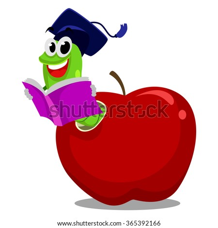 Vector Illustration of Worm inside the Apple reading book wearing graduation hat - stock vector