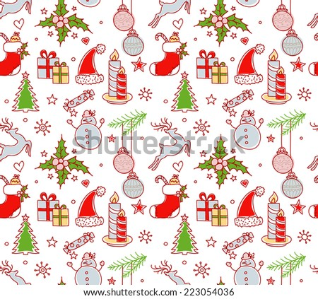 Vector illustration of Xmas objects seamless pattern