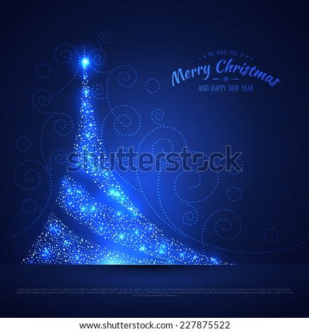 Vector illustration of Xmas tree glowing background - stock vector