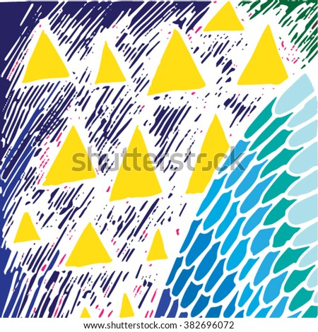 Vector illustration of yellow & black hand drawn graphic pattern / background. Triangles, shells, distressed, distorted, grunge image, doodle, sky. - stock vector