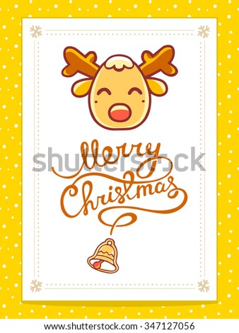 Vector illustration of yellow christmas deer with hand written text on white background. Bright color. Hand draw line art design for web, site,banner,poster,board,postcard,print and greeting card.  - stock vector