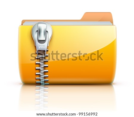 Vector illustration of yellow interface computer zip folder icon - stock vector