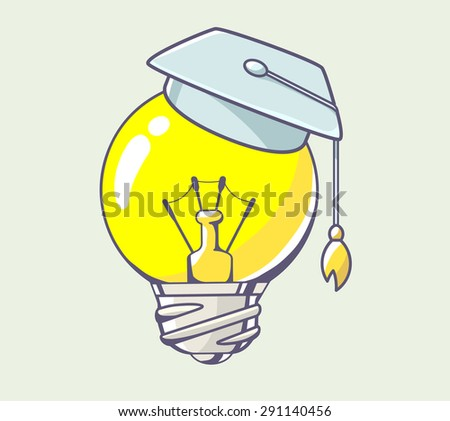 Vector illustration of yellow lightbulb with graduation cap on color background. Hand draw line art design for web, site, advertising, banner, poster, board and print.   - stock vector