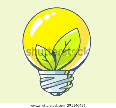 Vector illustration of yellow lightbulb with green leaf inside on color background. Hand draw line art design for web, site, advertising, banner, poster, board and print.   - stock vector