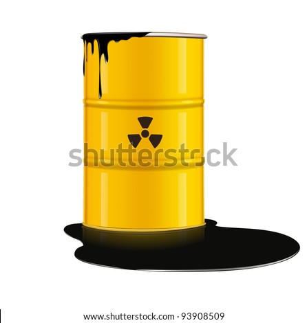 Vector illustration of yellow metal barrel with nuclear waste - stock vector